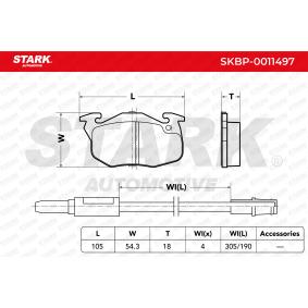 Jogo de pastilhas para travão de disco SKBP-0011497 com uma excecional STARK relação preço-desempenho
