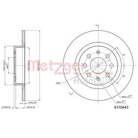 Disco freno 6110443 con un ottimo rapporto METZGER qualità/prezzo