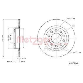 Disco freno 6110690 con un ottimo rapporto METZGER qualità/prezzo