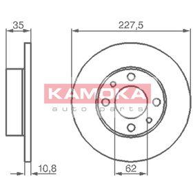 Disco de travão 103166 KAMOKA Pagamento seguro — apenas peças novas