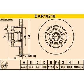 Disco freno BAR10210 BARUM Pagamento sicuro — Solo ricambi nuovi