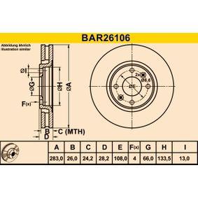 Brake Disc BAR26106 406 Estate 2.1 TD 12V 109 HP original parts-Offers