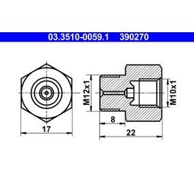 compre ATE Adaptador, tubo do travão 03.3510-0059.1 a qualquer hora