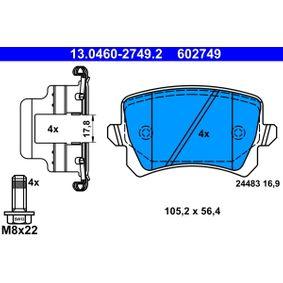 13.0460-2749.2 stabdžių trinkelių rinkinys, diskinis stabdys ATE - Pigus kokybiški produktai