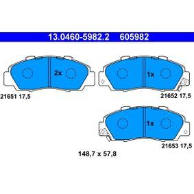 Jogo de pastilhas para travão de disco 13.0460-5982.2 com uma excecional ATE relação preço-desempenho
