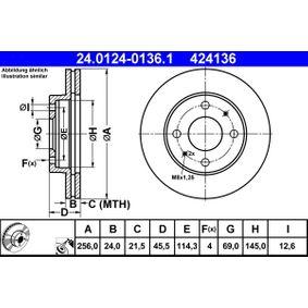 Disco freno ATE 24.0124-0136.1 comprare e sostituisci
