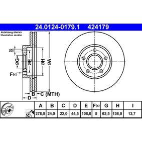 Disco freno 24.0124-0179.1 con un ottimo rapporto ATE qualità/prezzo