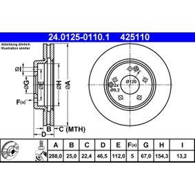 24.0125-0110.1 Bremsscheibe ATE - Niedrigpreis-Anbieter