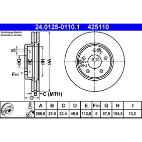24.0125-0110.1 Disco de travão ATE - Experiência a preços com desconto
