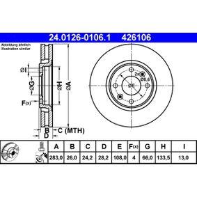 Brake Disc 24.0126-0106.1 406 Estate 2.1 TD 12V 109 HP original parts-Offers