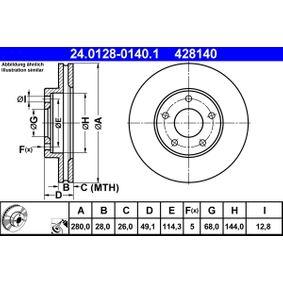 Disco freno ATE 24.0128-0140.1 comprare e sostituisci
