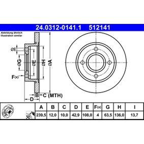 Disco freno ATE 24.0312-0141.1 comprare e sostituisci