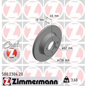 Brake Disc 500.2304.20 ZIMMERMANN Secure payment — only new parts