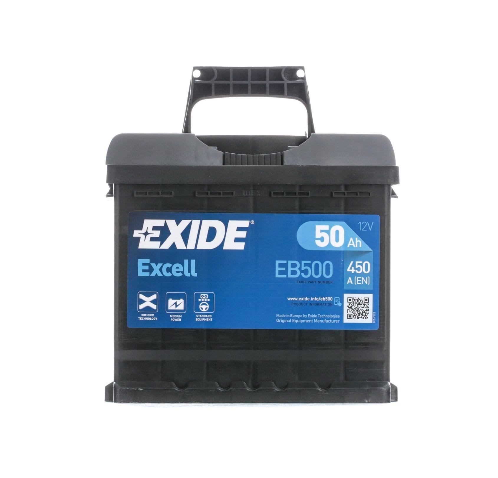 Achetez Électricité auto EXIDE EB500 (Courant d'essai à froid, EN: 450A, Volt: 12V, Disposition pôles: 0) à un rapport qualité-prix exceptionnel