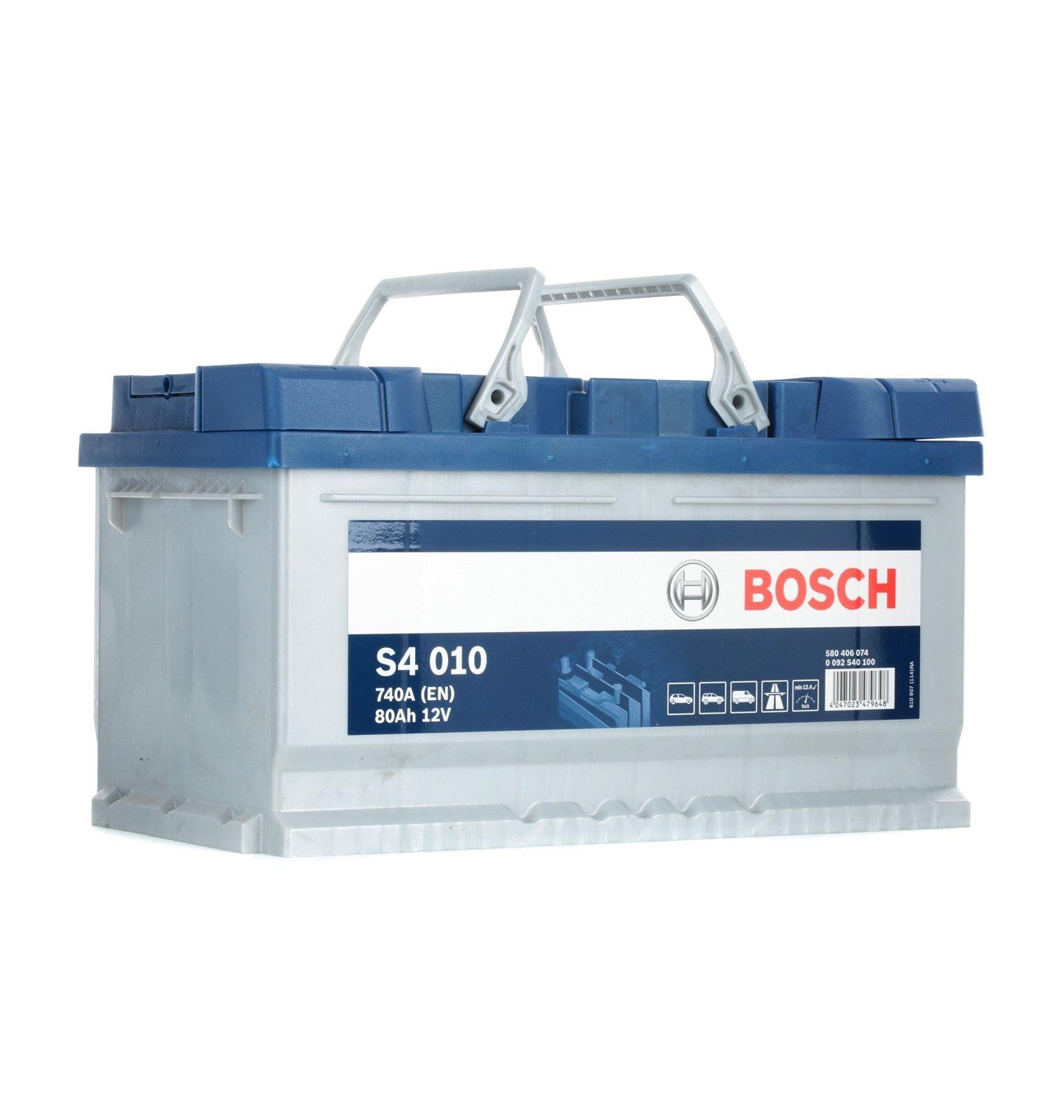 S4010 BOSCH S4 Batterie-Kapazität: 80Ah Kälteprüfstrom EN: 740A, Spannung: 12V, Polanordnung: 0 Starterbatterie 0 092 S40 100 günstig kaufen