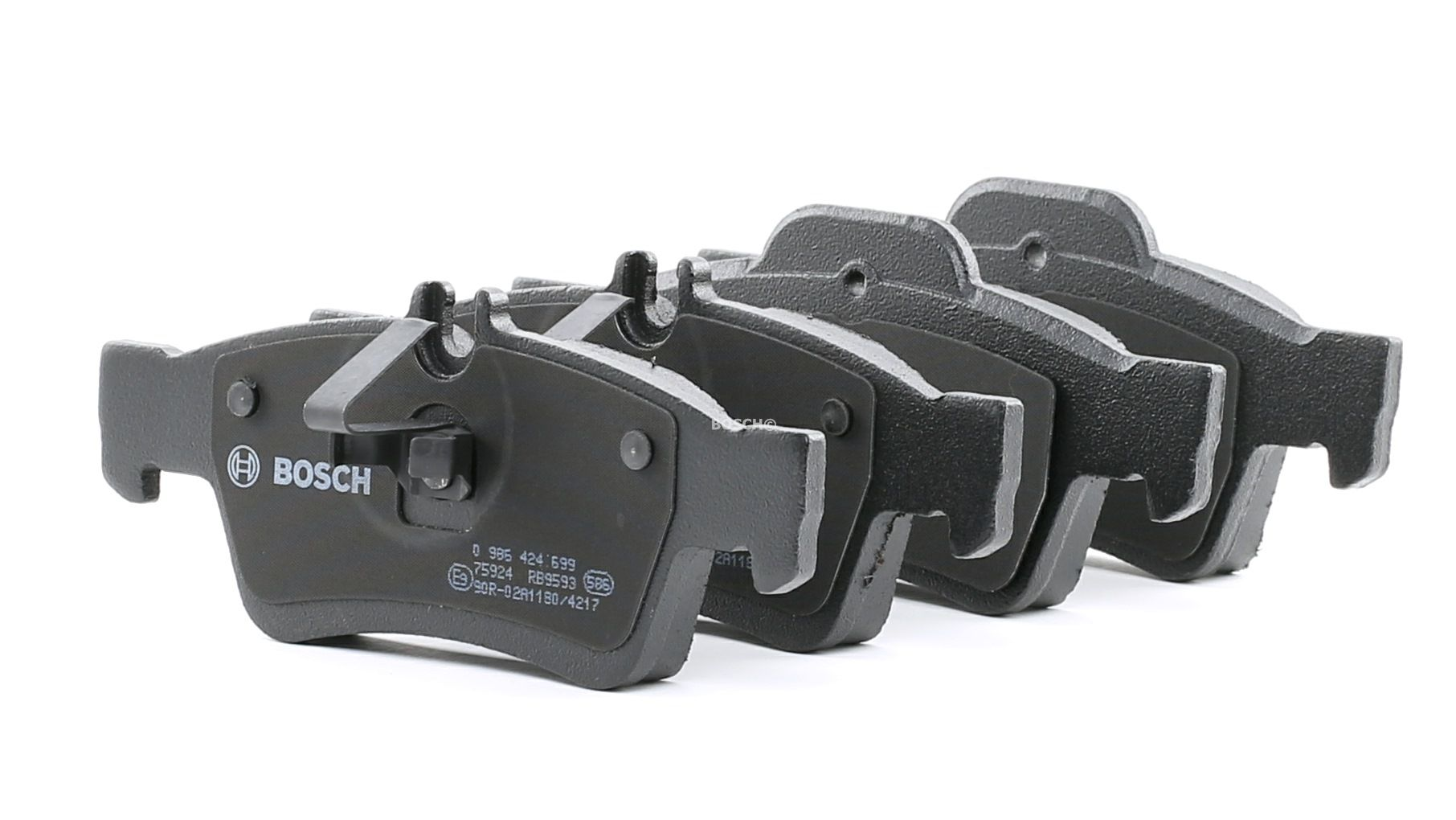 MERCEDES-BENZ CLS 2012 Bremsbeläge - Original BOSCH 0 986 424 699 Höhe 1: 57,3mm, Höhe 2: 59,4mm, Höhe: 57,3mm, Breite 1: 140,1mm, Breite 2: 141,2mm, Dicke/Stärke: 15,5mm
