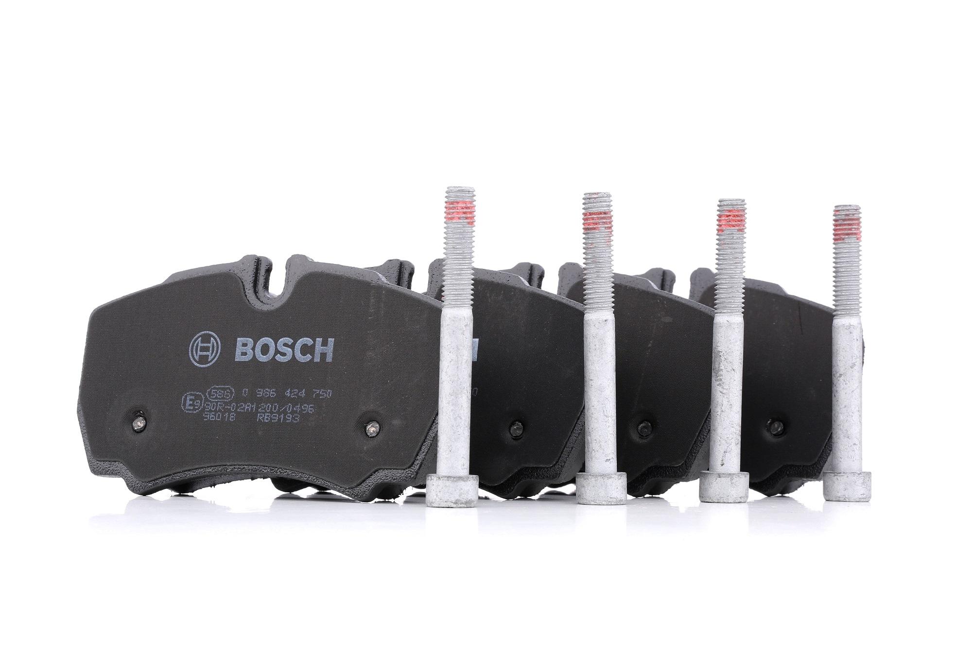 BOSCH: Original Bremsbeläge 0 986 424 750 (Höhe: 63,8mm, Breite: 109,5mm, Dicke/Stärke: 20,6mm)
