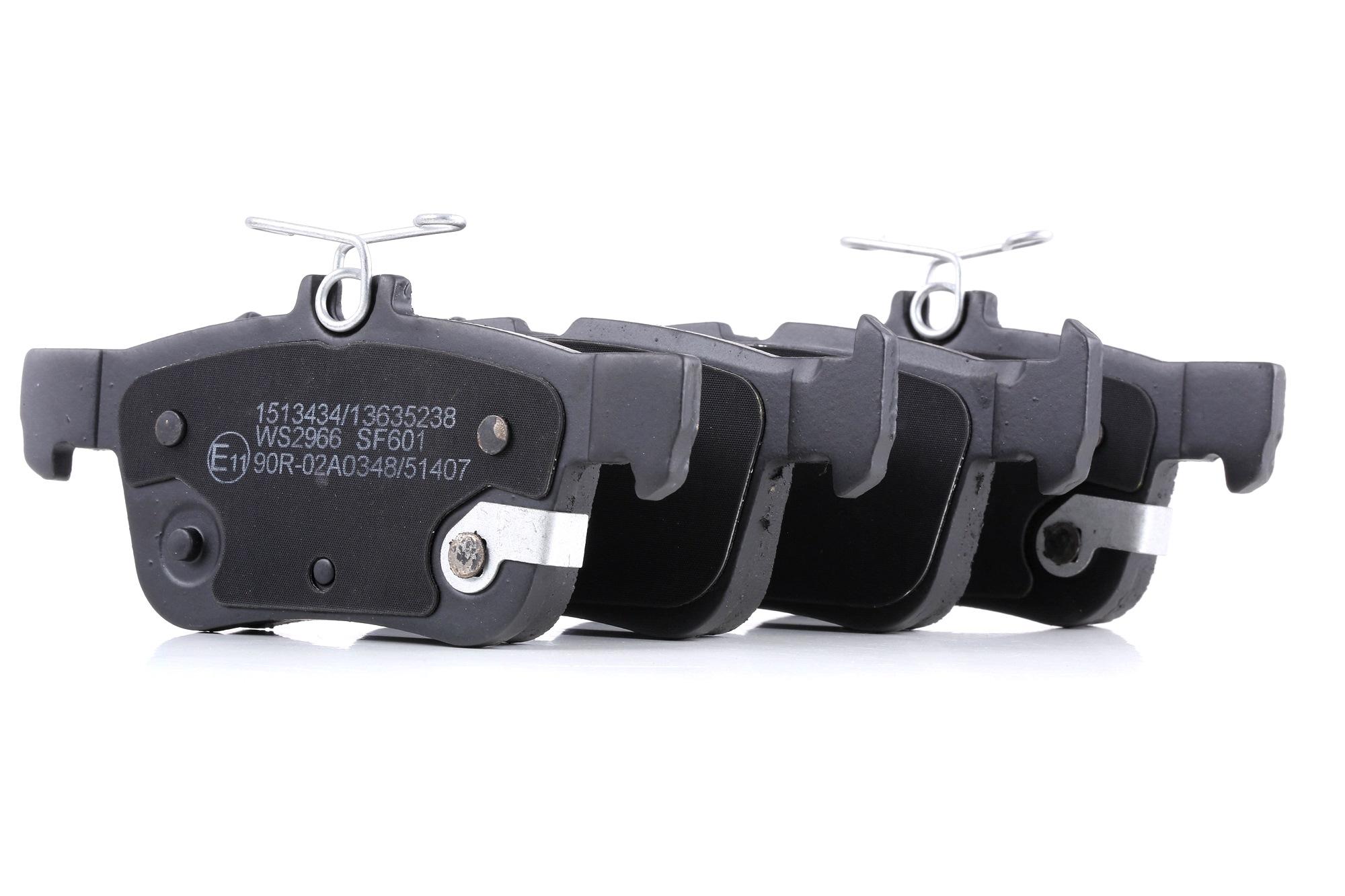 Bremsklötze FORD USA Crown Victoria II (EN114) hinten + vorne 2012 - RIDEX 402B1083 (Höhe 1: 48,7mm, Höhe 2: 53,5mm, Breite 1: 123,2mm, Breite 2: 123,2mm, Dicke/Stärke 1: 15,7mm, Dicke/Stärke 2: 15,7mm)