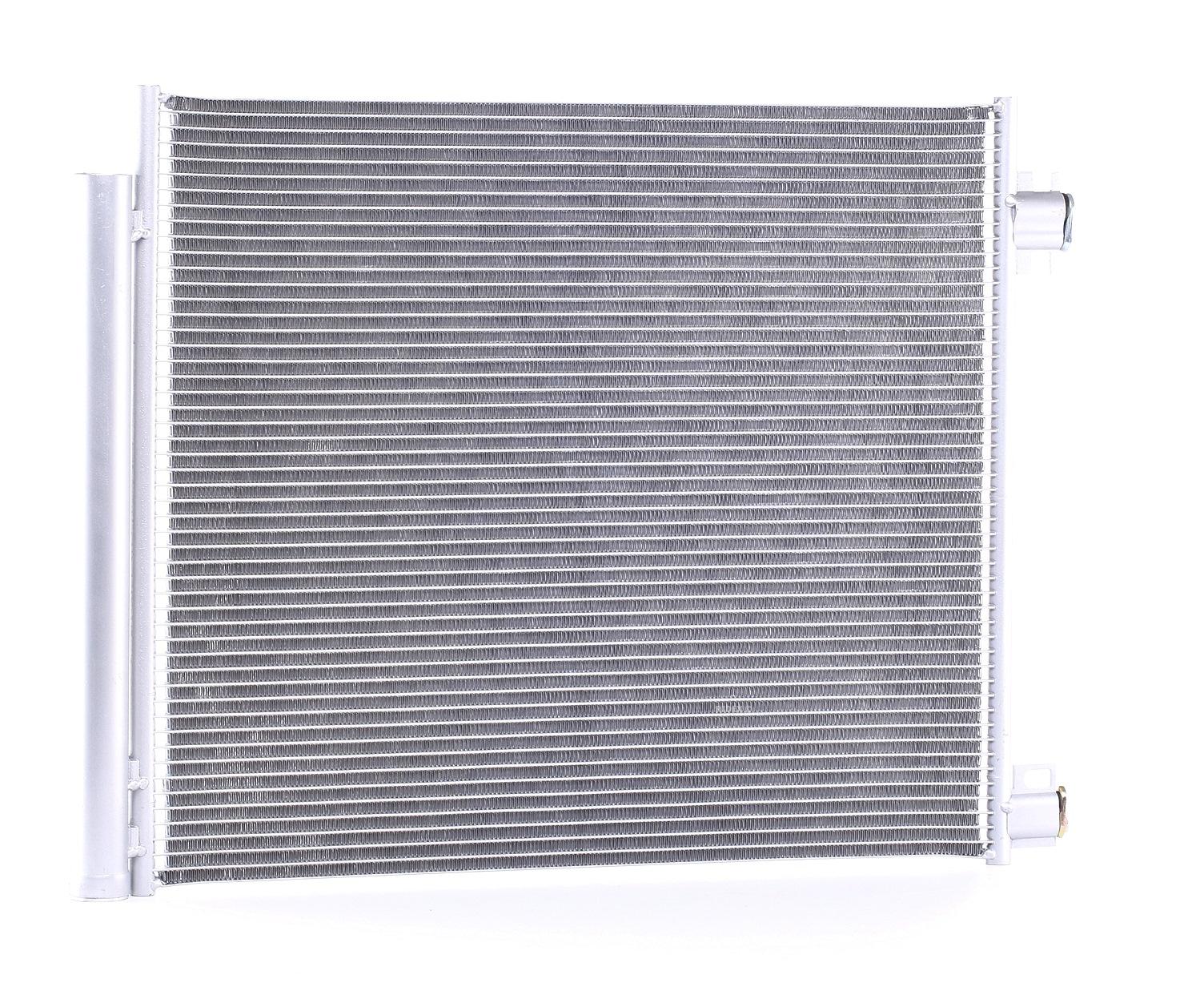 RENAULT ESPACE 2021 Kondensator Klimaanlage - Original RIDEX 448C0243 Kältemittel: R 134a, Netzmaße: 565 x 464 x 12 mm