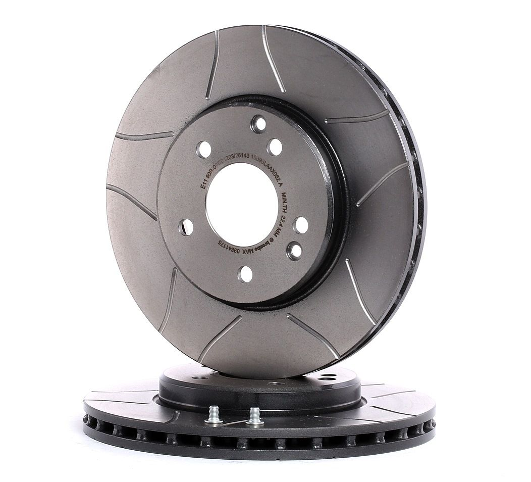 Brake Disc BREMBO MAX LINE 09.8411.75 Internally Vented, Slotted, Coated, High-carbon, with screws — Buy now!