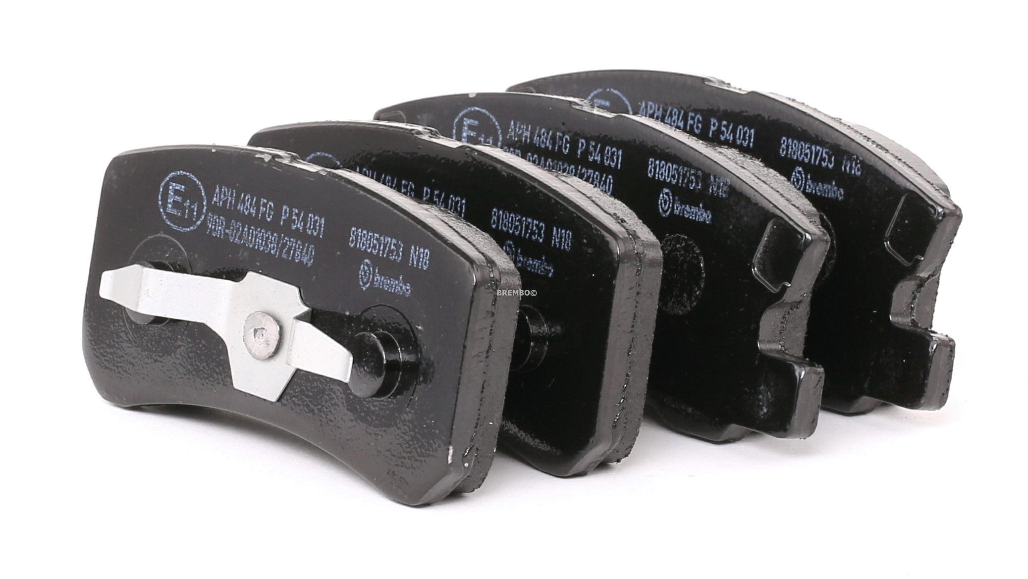 JEEP PATRIOT 2016 Bremsbelagsatz - Original BREMBO P 54 031 Höhe: 45mm, Breite 1: 91mm, Breite 2: 111,3mm, Dicke/Stärke: 15,5mm