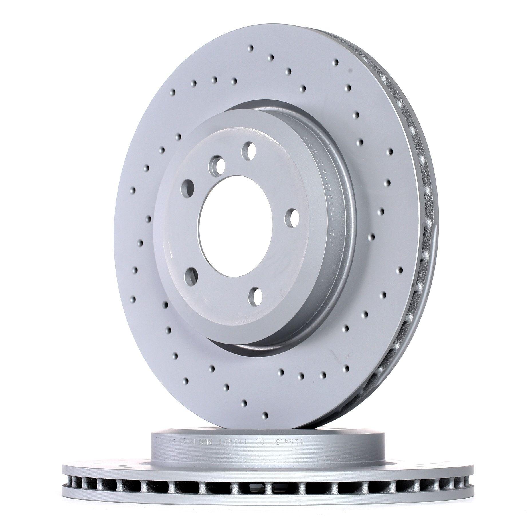 Origine Disque de frein ZIMMERMANN 150.1294.52 (Ø: 325mm, Jante: 5Trou, Épaisseur du disque de frein: 25mm)