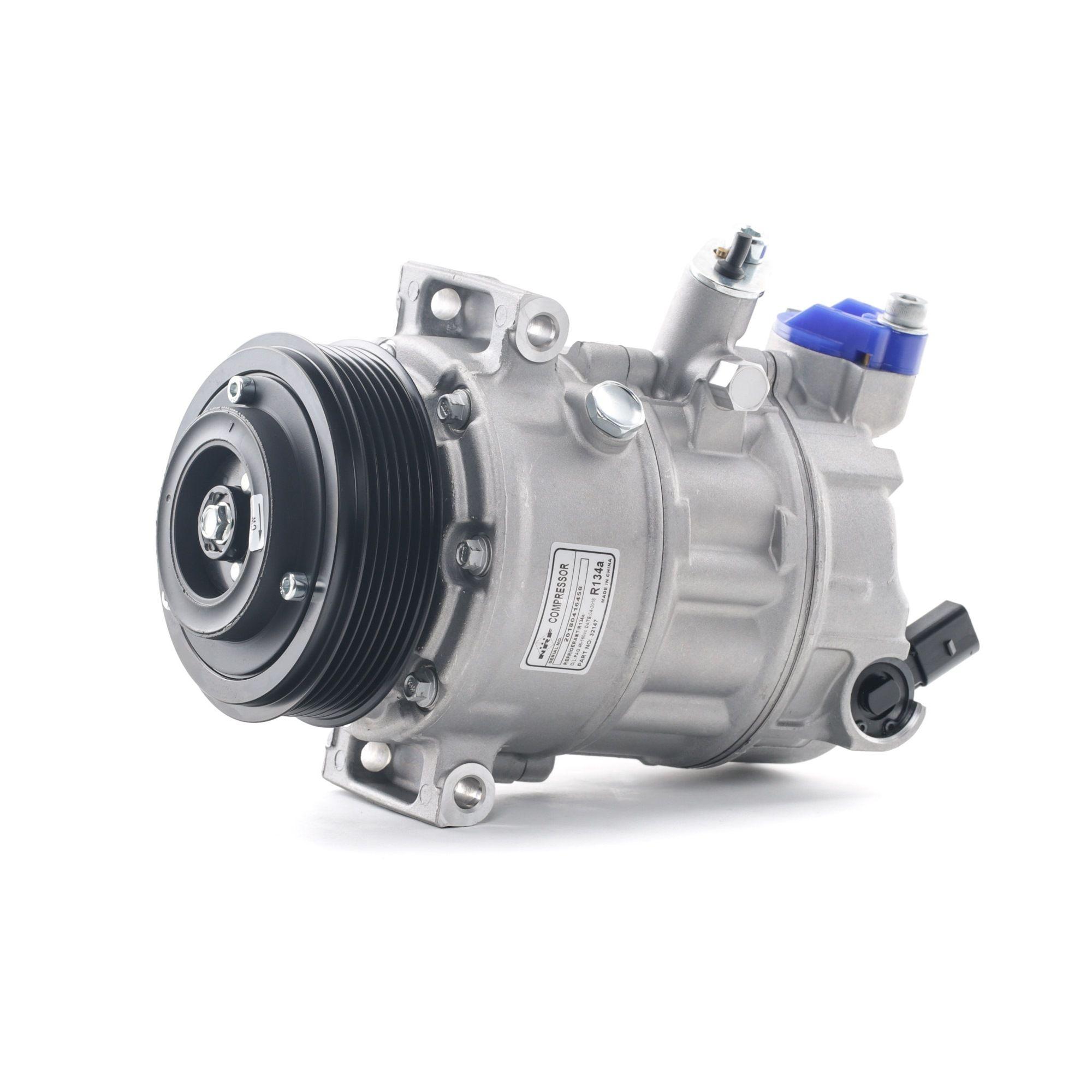 32147 NRF EASY FIT PAG 46, Kältemittel: R 134a, mit PAG-Kompressoröl Riemenscheiben-Ø: 110mm, Anzahl der Rillen: 6 Klimakompressor 32147 günstig kaufen