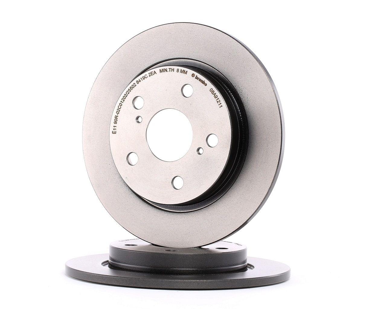 TOYOTA COROLLA 2015 Bremsscheibe - Original BREMBO 08.A912.11 Ø: 270mm, Lochanzahl: 5, Bremsscheibendicke: 10mm