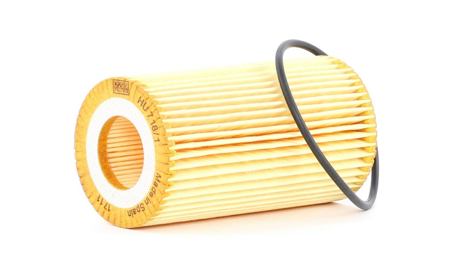 Pirkti HU 718/1 n MANN-FILTER su tarpikliais / sandarikliais, filtro įdėklas vidinis skersmuo: 31mm, vidinis skersmuo 2: 31mm, Ø: 64mm, aukštis: 115mm Alyvos filtras HU 718/1 n nebrangu