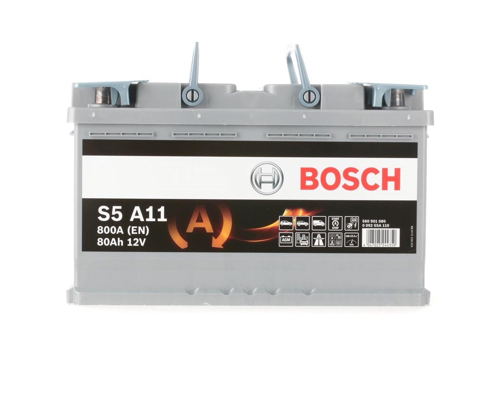 S5A11 BOSCH S5 Batterie-Kapazität: 80Ah Kälteprüfstrom EN: 800A, Spannung: 12V, Polanordnung: 0 Starterbatterie 0 092 S5A 110 günstig kaufen