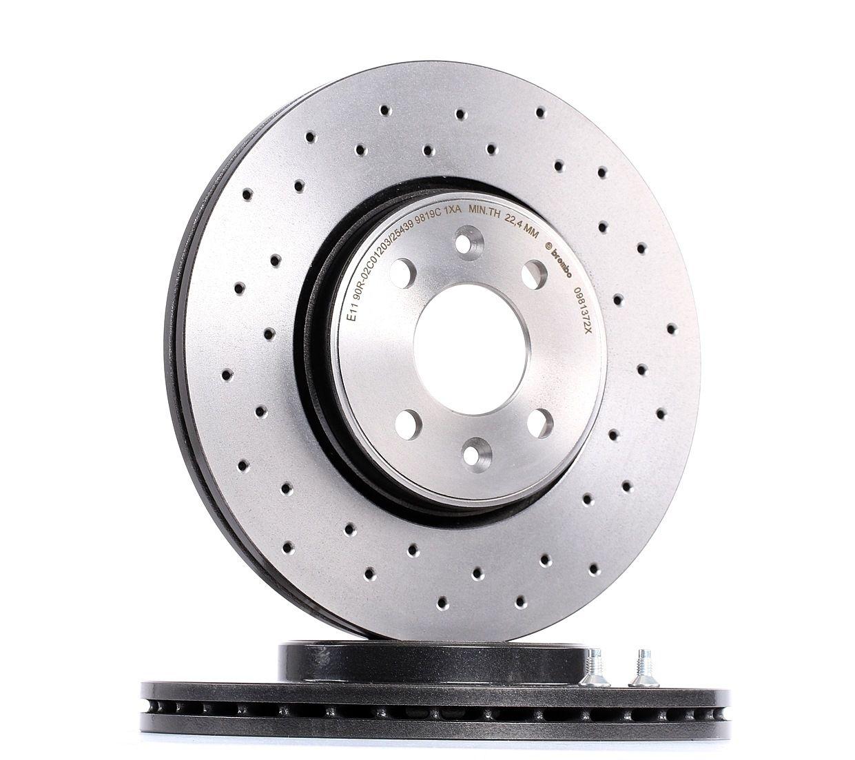 Achetez Disques de frein BREMBO 09.8137.2X (Ø: 280mm, Nbre de trous: 4, Épaisseur du disque de frein: 24mm) à un rapport qualité-prix exceptionnel