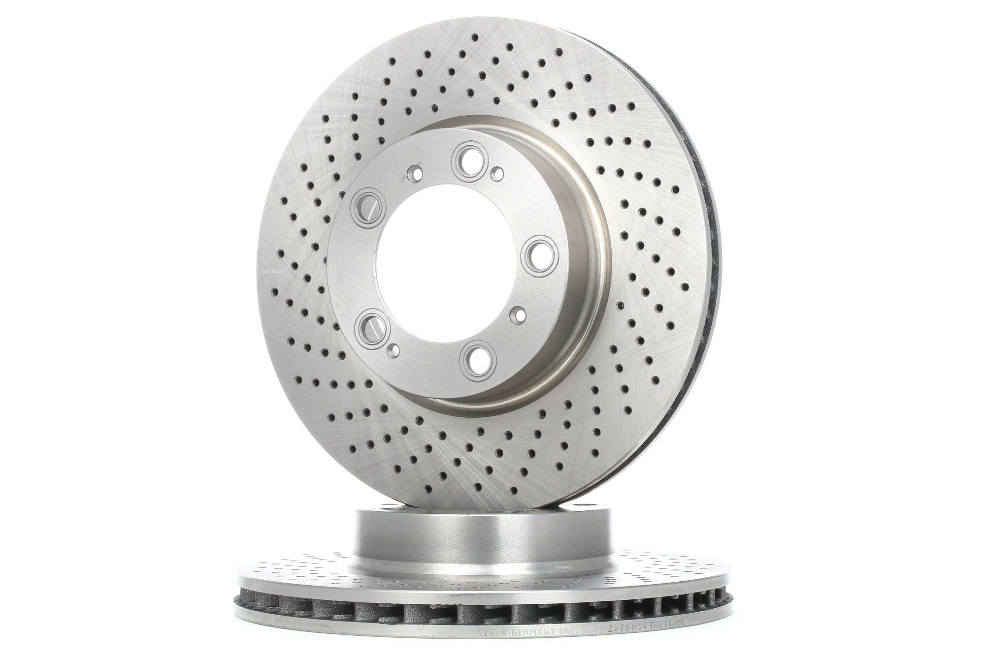 SKBD-0022975 STARK Vorderachse links, belüftet, Gelocht/innenbel. Ø: 319mm, Bremsscheibendicke: 28mm Bremsscheibe SKBD-0022975 günstig kaufen