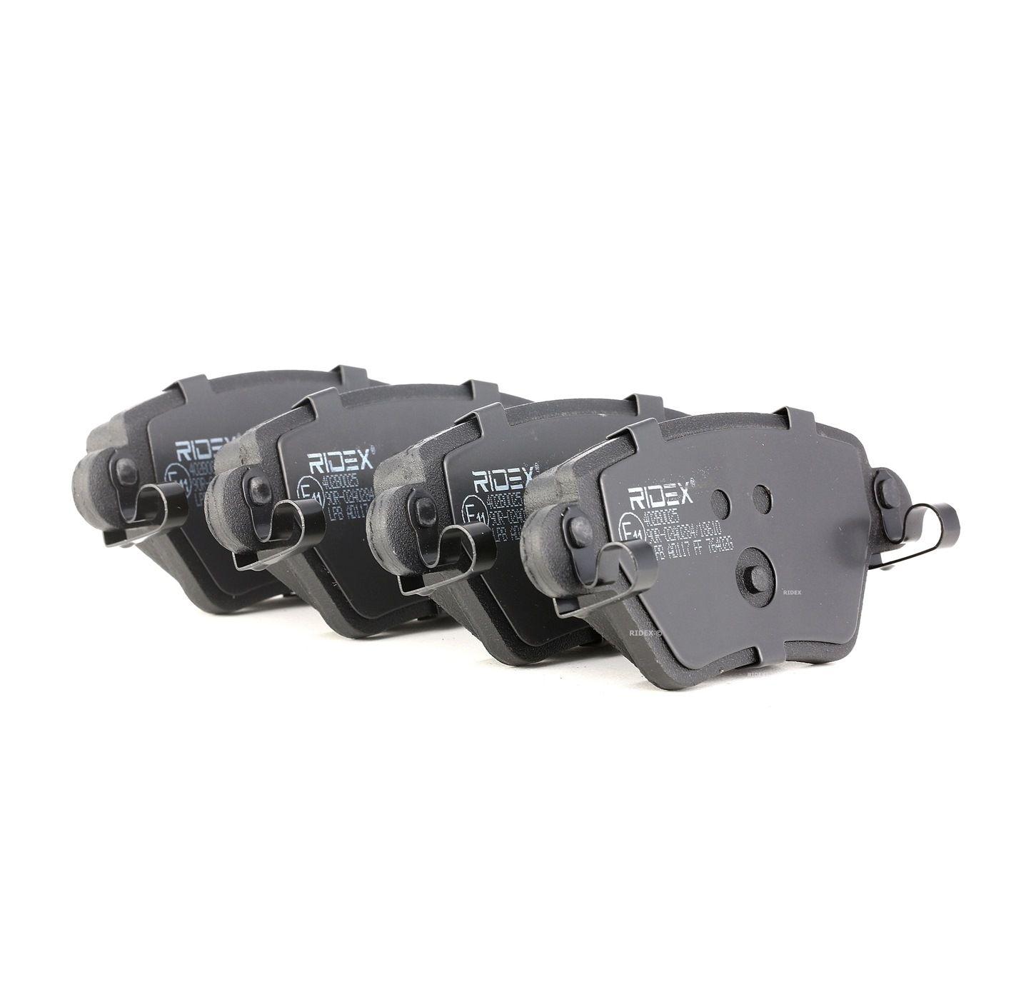 402B0025 RIDEX Hinterachse, mit akustischer Verschleißwarnung Höhe: 51,9mm, Dicke/Stärke: 16,8mm Bremsbelagsatz, Scheibenbremse 402B0025 günstig kaufen