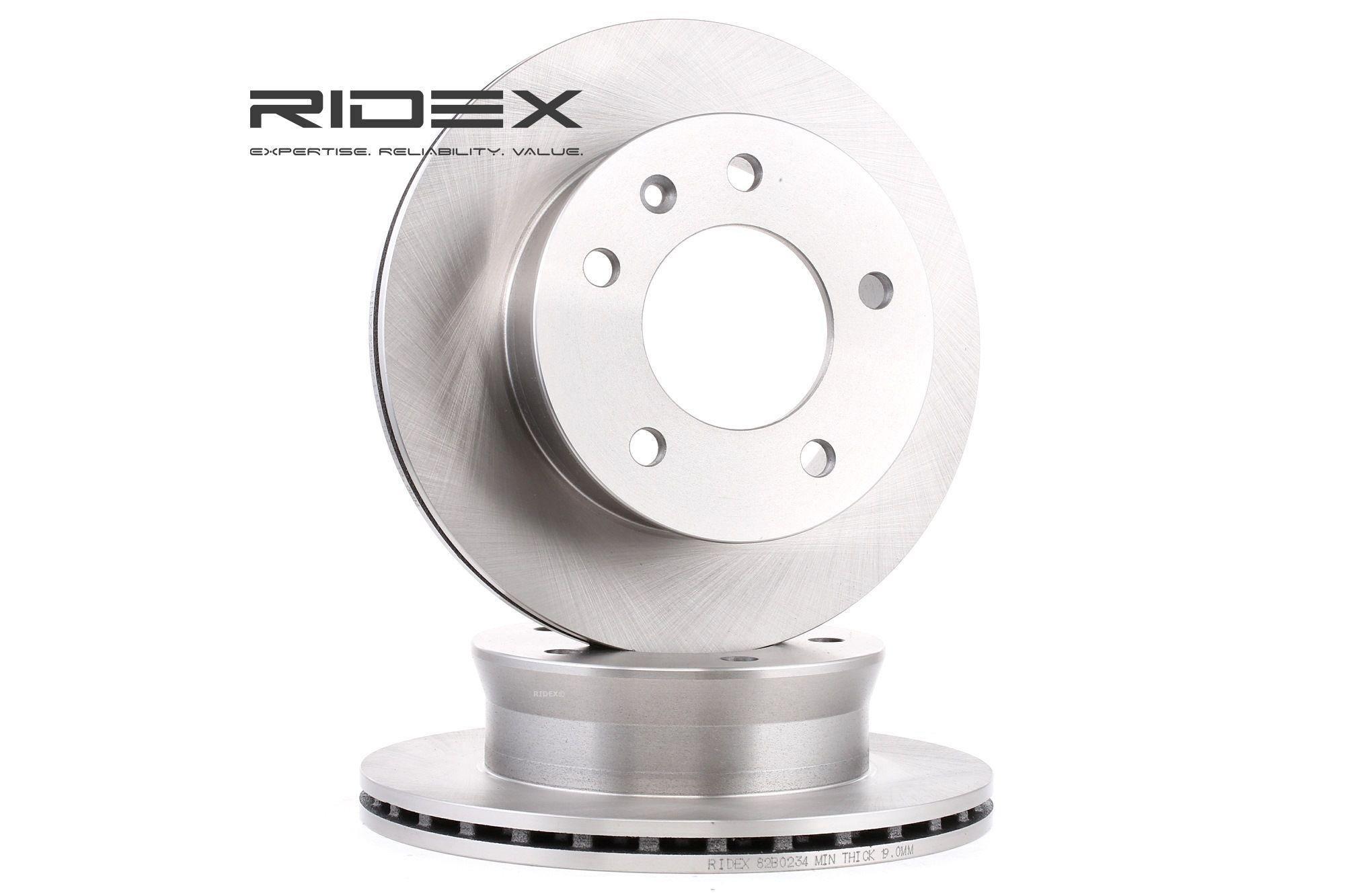 Køb 82B0234 RIDEX foraksel, indvendig ventileret Ø: 276,0mm, Lochanzahl: 5, Bremsscheibendicke: 22mm Bremseskive 82B0234 billige
