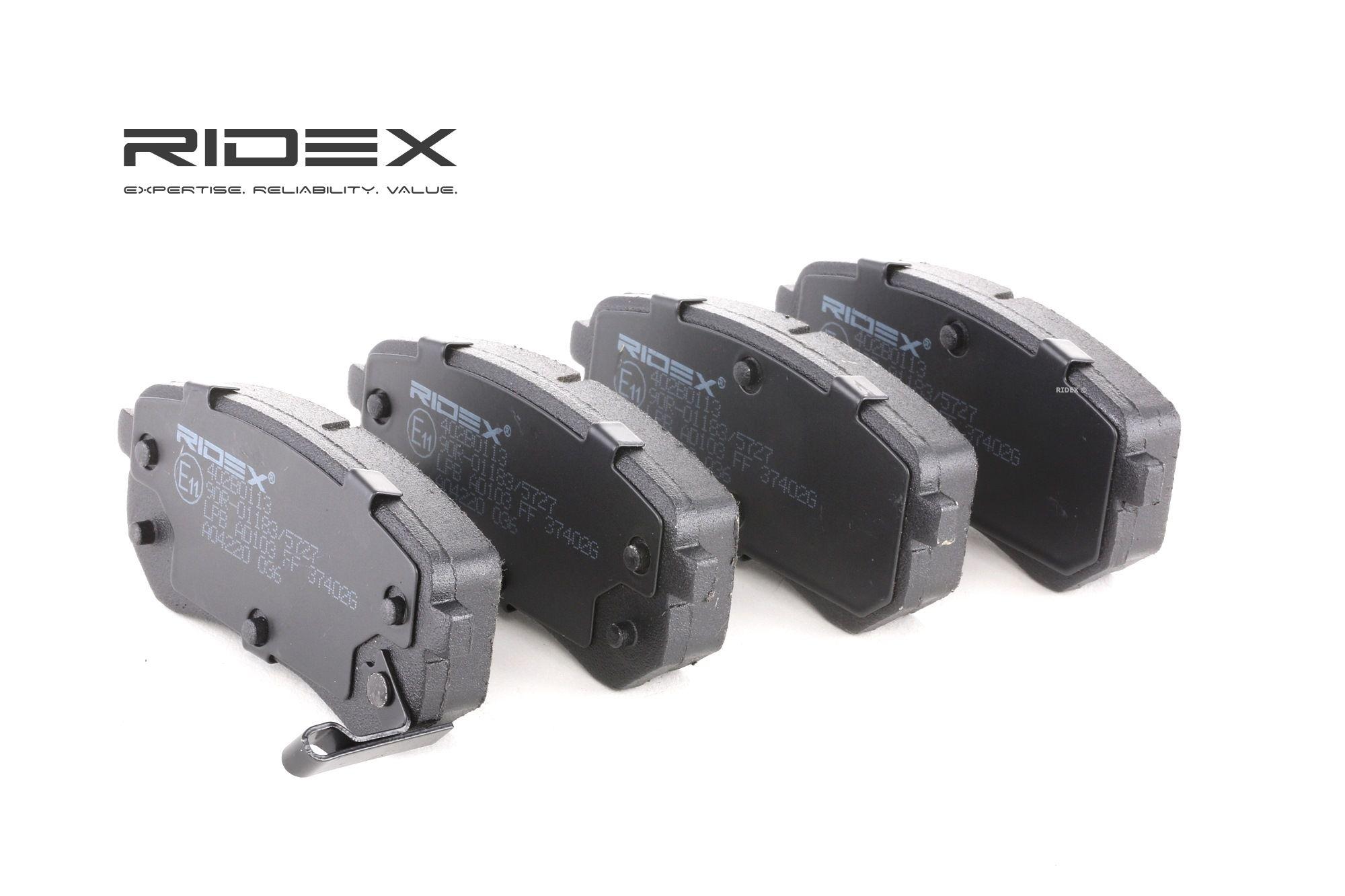 402B0113 RIDEX Bakaxel, med akustisk slitagevarnare H: 41mm, B: 92,5mm, Tjocklek: 14,8mm Bromsbeläggssats, skivbroms 402B0113 köp lågt pris