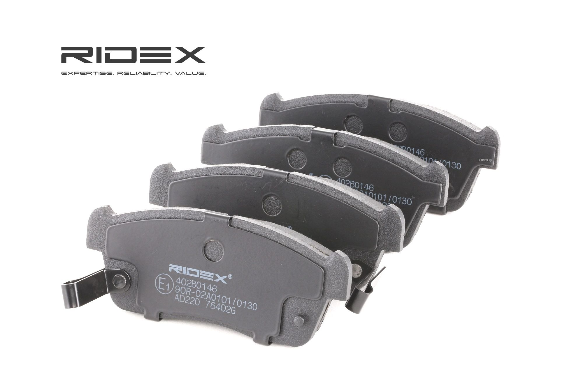 RIDEX: Original Bremsbelagsatz 402B0146 (Höhe: 45.45mm, Dicke/Stärke: 15mm)