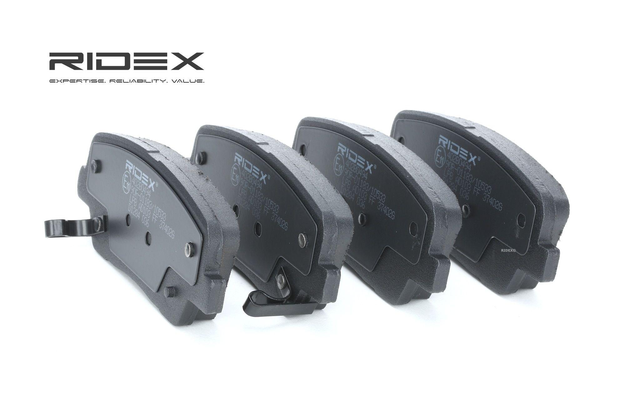 402B0494 RIDEX Hinterachse, mit akustischer Verschleißwarnung Höhe: 48,3mm, Breite: 116,8mm, Dicke/Stärke: 15,5mm Bremsbelagsatz, Scheibenbremse 402B0494 günstig kaufen