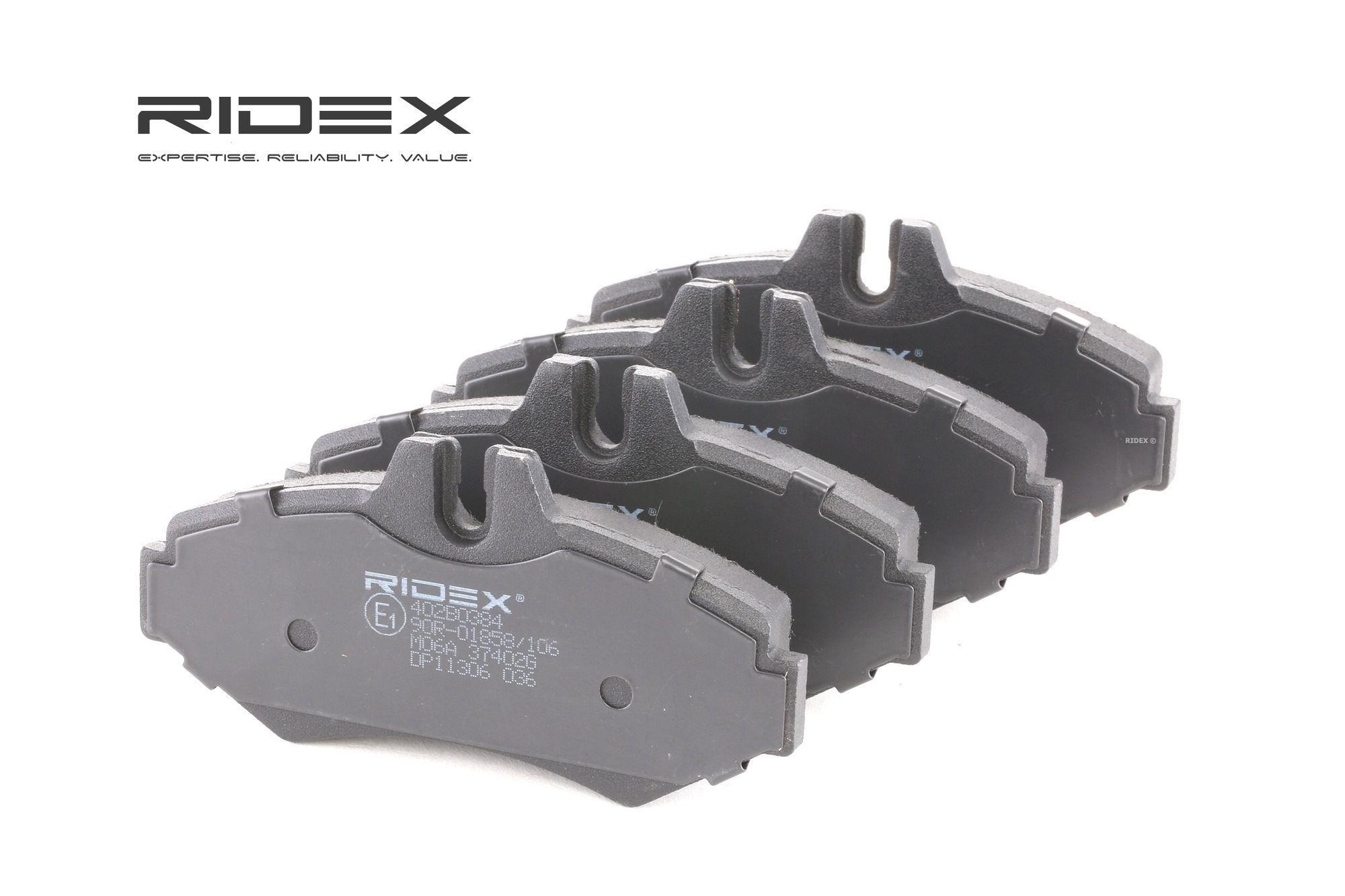 402B0384 RIDEX Hinterachse, für Verschleißwarnanzeiger vorbereitet, mit Anti-Quietsch-Blech Höhe: 61,8mm, Dicke/Stärke: 18,5mm Bremsbelagsatz, Scheibenbremse 402B0384 günstig kaufen