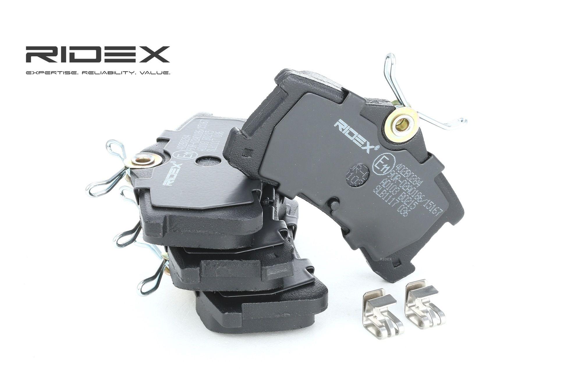 402B0284 RIDEX Hinterachse, inkl. Verschleißwarnkontakt, mit akustischer Verschleißwarnung Höhe 1: 45,9mm, Dicke/Stärke: 15,6mm Bremsbelagsatz, Scheibenbremse 402B0284 günstig kaufen