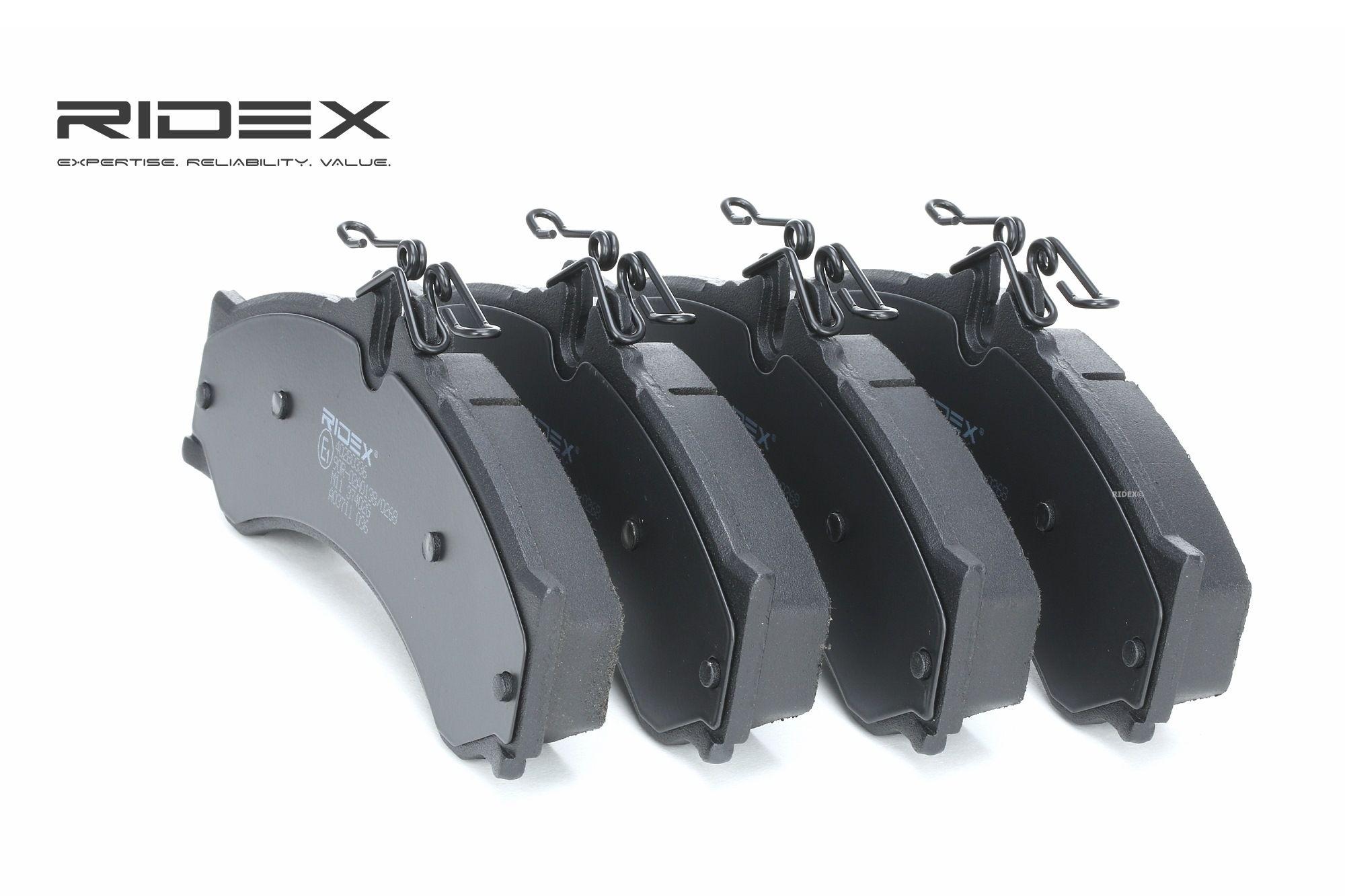 Køb 402B0336 RIDEX foraksel, Forberedt til slidindikator, med anti-knirke-plade Höhe: 73mm, Breite: 164,5mm, Dicke/Stärke: 20mm Bremseklodser 402B0336 billige