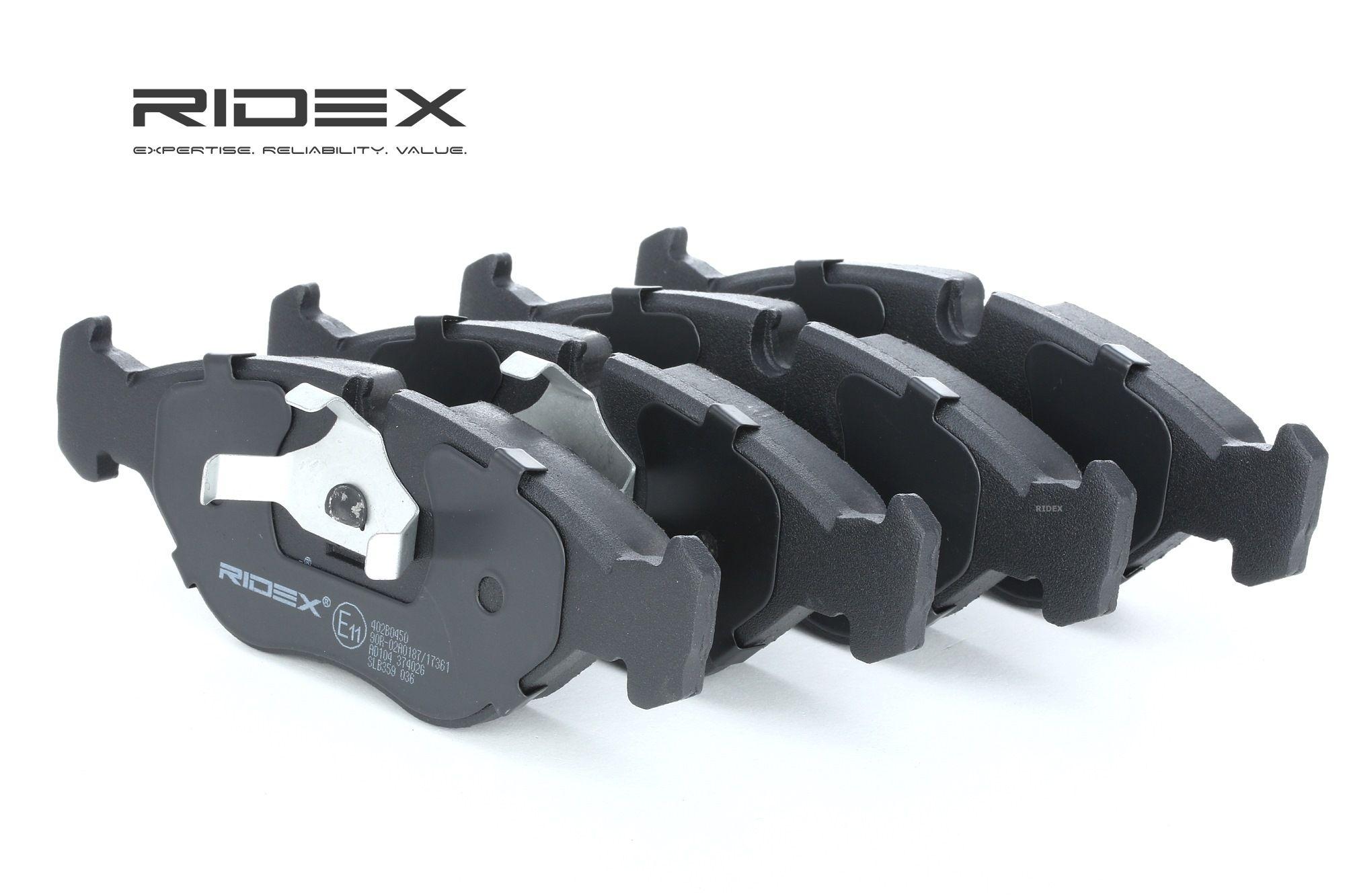 402B0450 RIDEX Vorderachse, für Verschleißwarnanzeiger vorbereitet, mit Kolbenclip Höhe: 55mm, Dicke/Stärke: 19,5mm Bremsbelagsatz, Scheibenbremse 402B0450 günstig kaufen