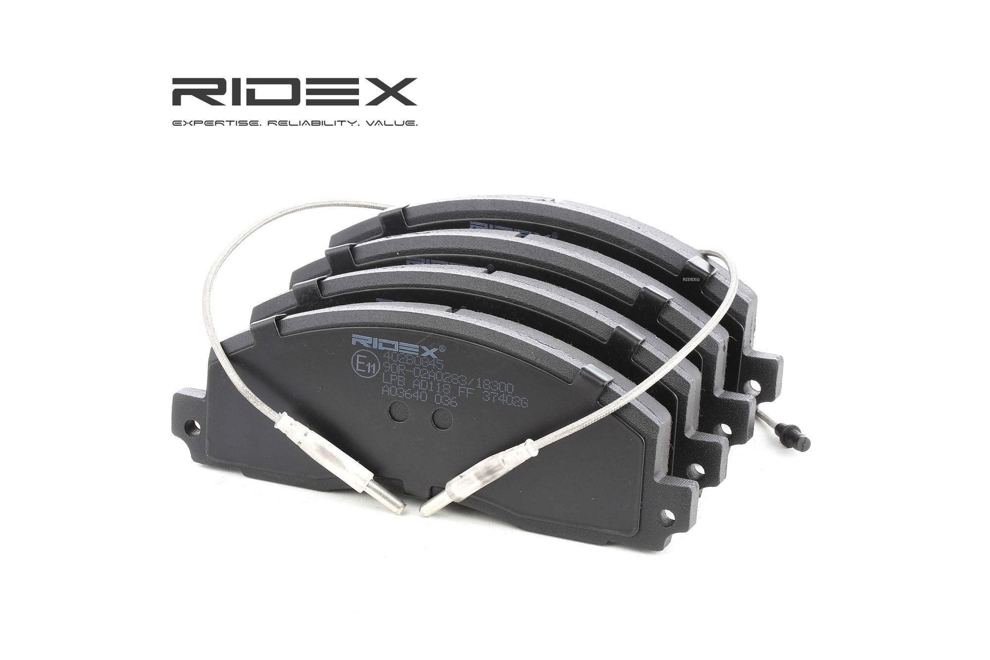 OPEL ARENA 2001 Bremsklötze - Original RIDEX 402B0845 Höhe: 56,6mm, Dicke/Stärke: 18,5mm