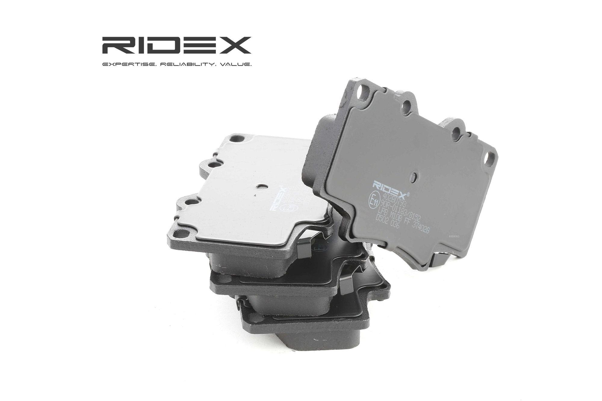 LEXUS LFA 2012 Bremssteine - Original RIDEX 402B0793 Höhe 1: 76,5mm, Höhe 2: 72mm, Dicke/Stärke: 15mm
