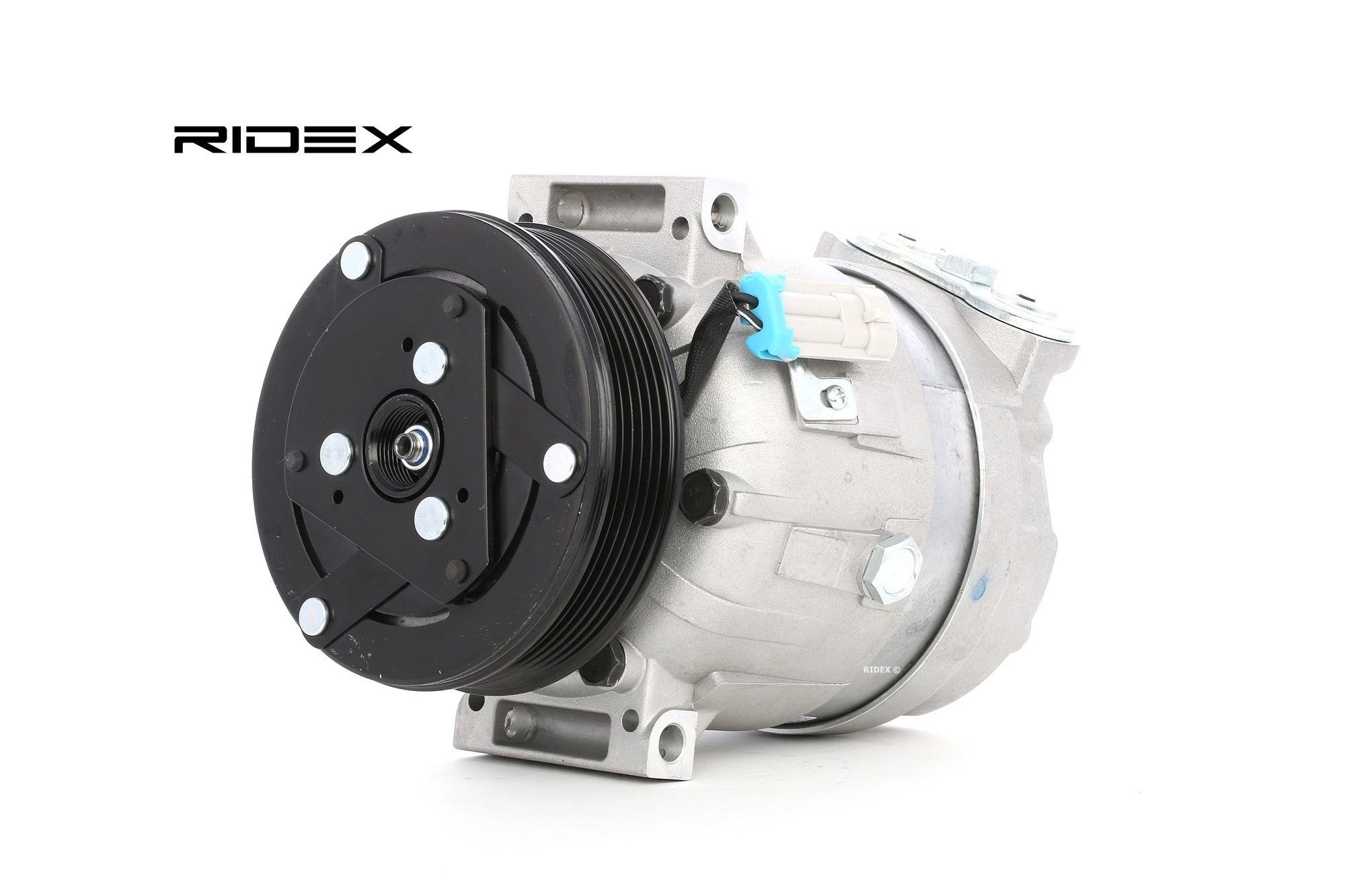 447K0101 RIDEX PAG 150, Kältemittel: R 134a, mit PAG-Kompressoröl Riemenscheiben-Ø: 119mm, Anzahl der Rillen: 6 Klimakompressor 447K0101 günstig kaufen