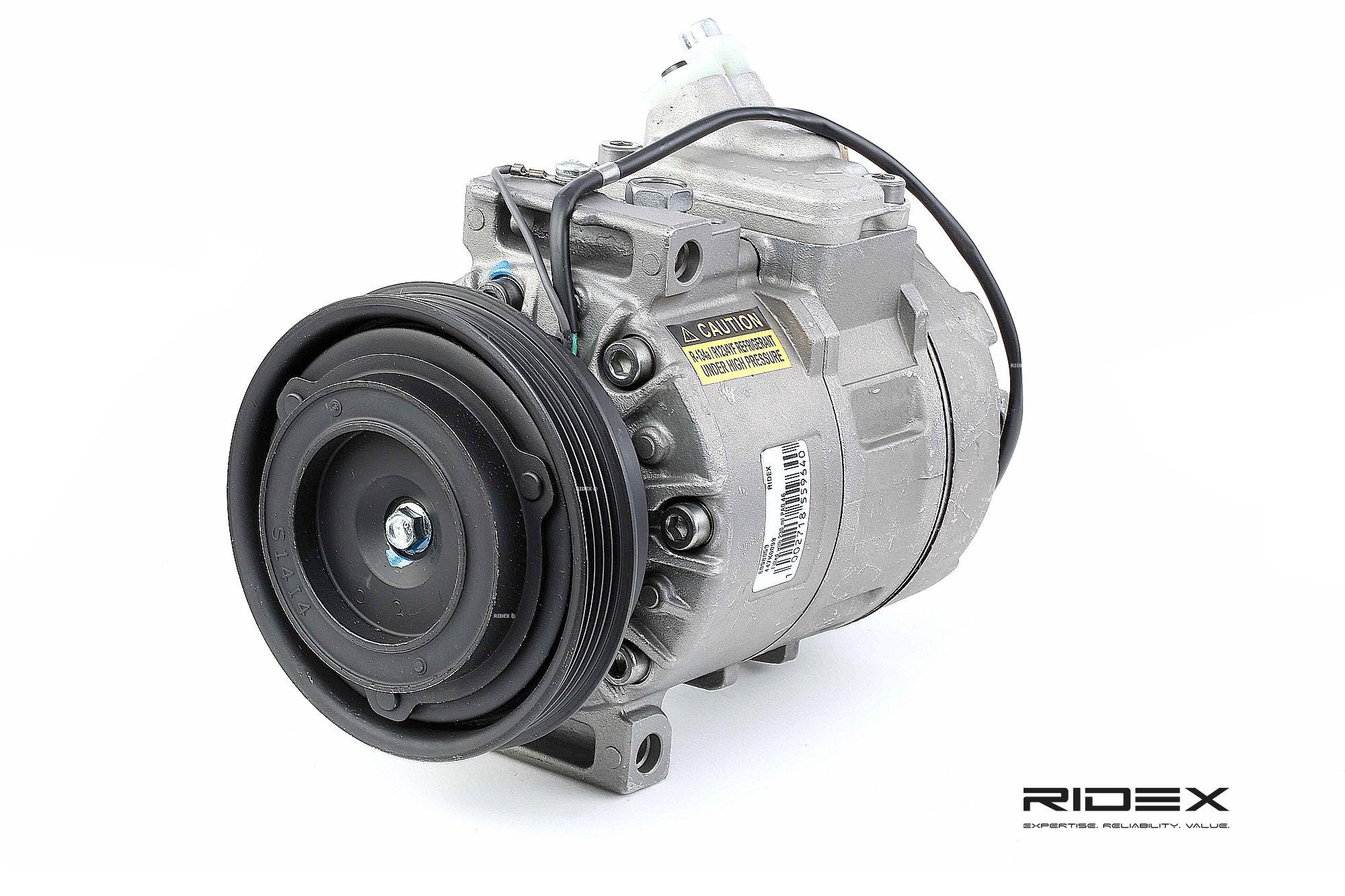 447K0098 RIDEX PAG 46, Kältemittel: R 134a, mit PAG-Kompressoröl Riemenscheiben-Ø: 120mm, Anzahl der Rillen: 4 Klimakompressor 447K0098 günstig kaufen