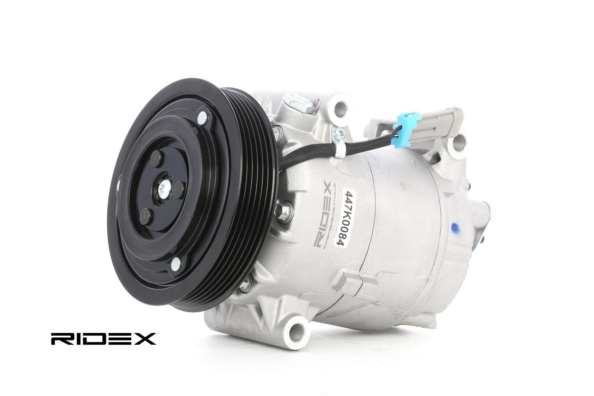 447K0084 RIDEX PAG 46, Kältemittel: R 134a Riemenscheiben-Ø: 125mm, Anzahl der Rillen: 6 Kompressor, Klimaanlage 447K0084 günstig kaufen
