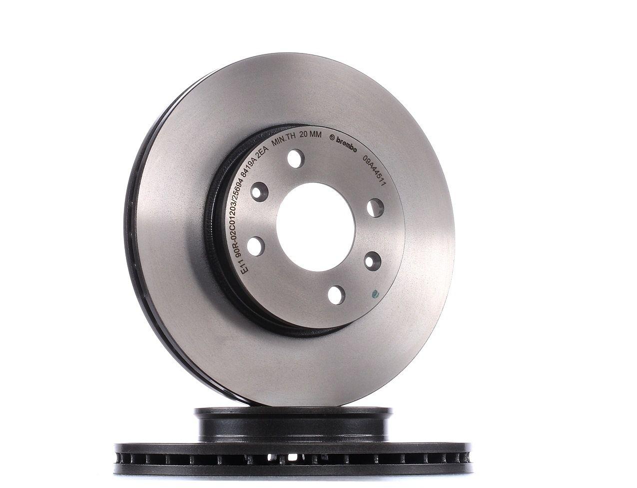 Comprare 09.A445.11 BREMBO COATED DISC LINE Autoventilato, rivestito, ad alto tenore di carbonio Ø: 256mm, N° fori: 4, Spessore disco freno: 22mm Disco freno 09.A445.11 poco costoso