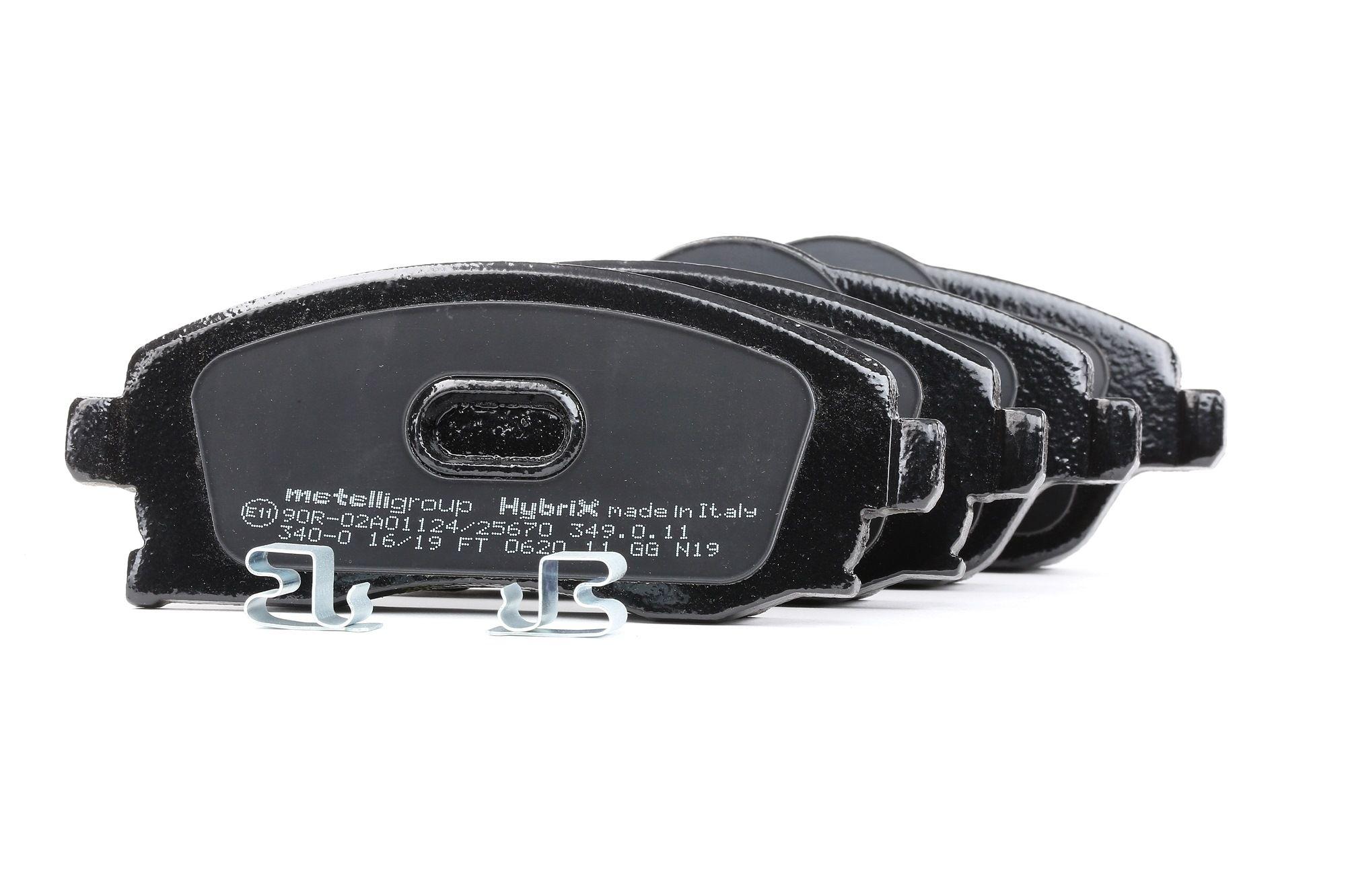 Bremsbelagsatz Opel Corsa B Pickup hinten + vorne 2003 - METELLI 22-0340-0 (Höhe 2: 55,6mm, Breite 2: 131,4mm, Dicke/Stärke 1: 17,0mm, Dicke/Stärke 2: 17,0mm)