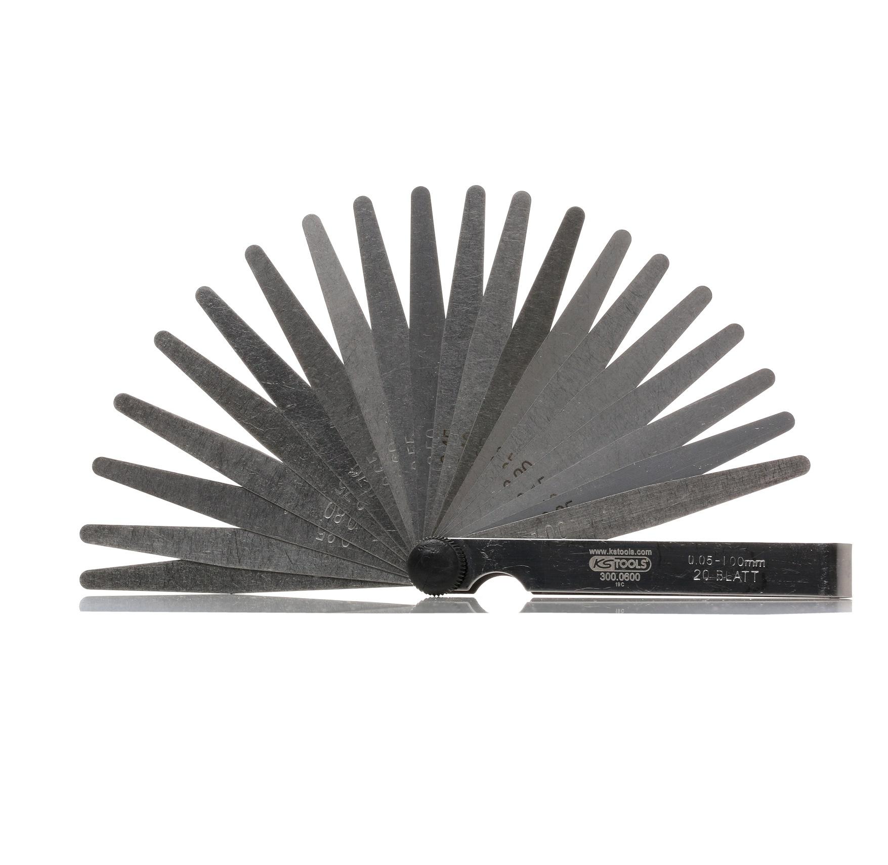 300.0600 KS TOOLS Messbereich von: 0,05mm, Messbereich bis: 1mm, Anzahl der Blätter: 20mm Fühlerlehre 300.0600 kaufen