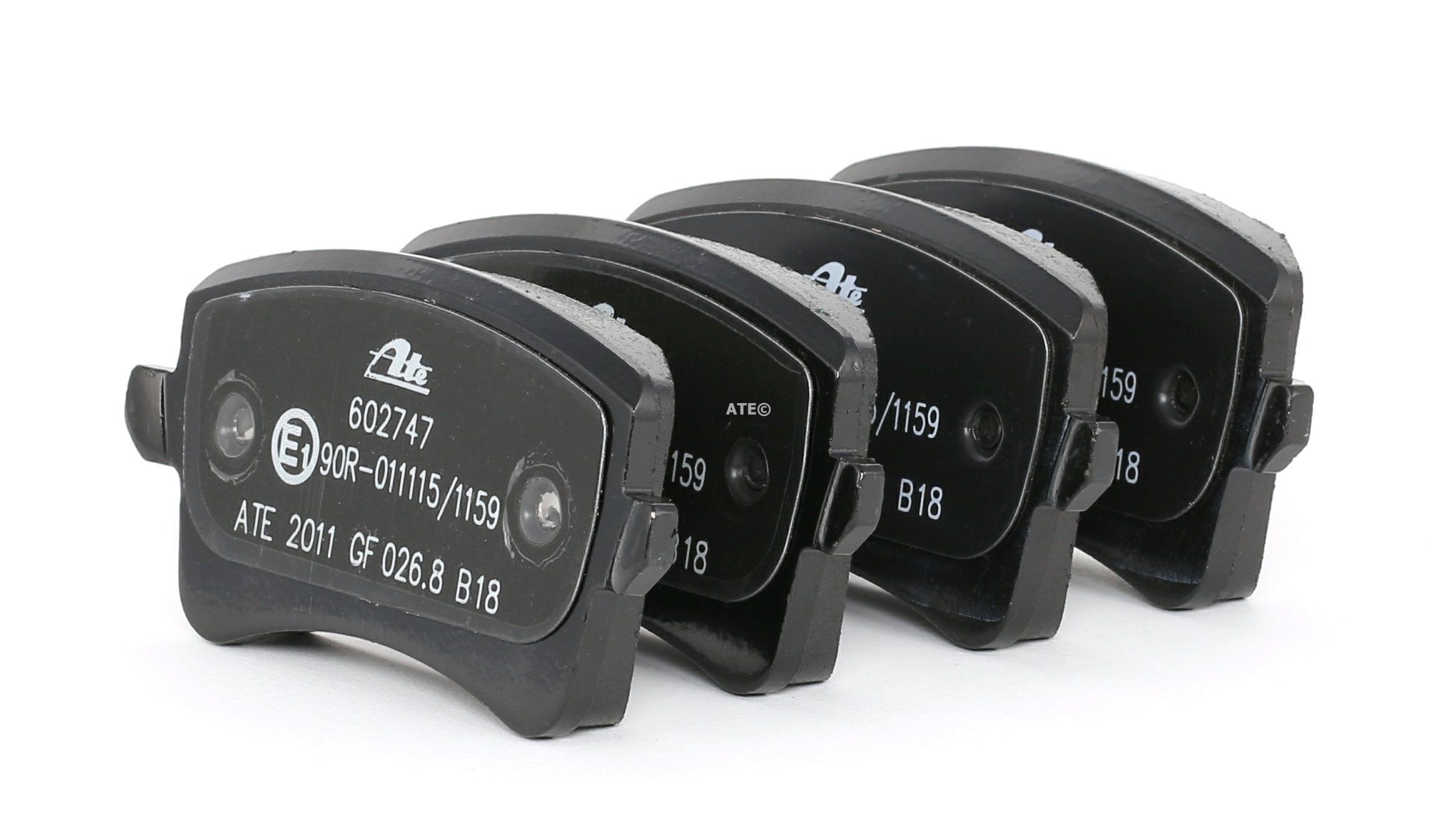 AUDI A4 2015 Bremsklötze - Original ATE 13.0460-2747.2 Höhe: 58,5mm, Breite: 116,4mm, Dicke/Stärke 1: 17,4mm, Dicke/Stärke 2: 17,7mm